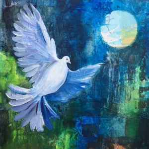 flying dove of peace painting